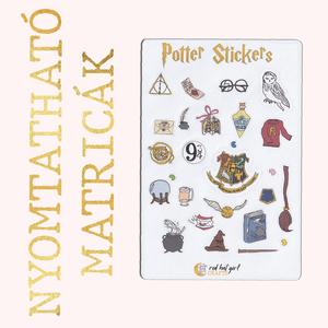 Nyomtatható Harry Potter Matricák Roxfort Matricák Bullet Journal Matricák Határidőnapló Matricák, Falmatrica & Tapéta, Dekoráció, Otthon & Lakás, Fotó, grafika, rajz, illusztráció, Ez a Harry Potter alapján készült matrica kollekció tökéletes minden tervező, bullet journal és hatá..., Meska