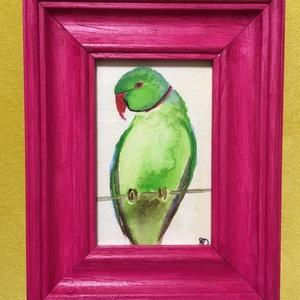 Örvös papagáj rózsaszínben, NoWaste, Otthon & lakás, Dekoráció, Kép, Képzőművészet, Festmény, Akvarell, Festészet, Saját készítésű akvarell. Örvös sándorpapagáj, rózsaszín, fakeretben. \n\n13x11 cm a keret külső méret..., Meska