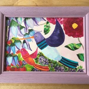 Kolibri madarak, Gyerek & játék, Gyerekszoba, Mobildísz, függődísz, NoWaste, Otthon & lakás, Dekoráció, Kép, Festészet, Saját készítésű akvarell festmény, kolibri madarak. \nAz ár kerettel együtt van. \nMérete: 28x36,5 cm ..., Meska
