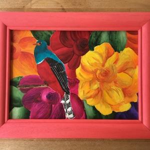 Virágos kert, NoWaste, Otthon & lakás, Dekoráció, Kép, Képzőművészet, Festmény, Akvarell, Festészet, Saját készítésű akvarell festmény, keretben.\nMéretek: 27,5x 36 cm a keret külső hossza. \nAz ár tarta..., Meska