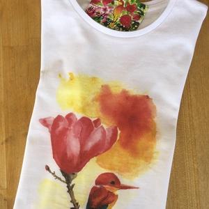 Kolibri magnoliaval akvarellem, digitálisan pólóra nyomva, Táska, Divat & Szépség, Ruha, divat, Gyerekruha, Női ruha, Póló, felsőrész, Festészet, Saját készítésű akvarell festményem, digitálisan pólóra nyomtatva. Mandarinréce hím és tojó. A polok..., Meska