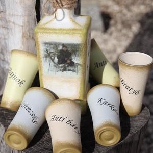 Transzferált, egyedi fotóval és felirattal ellátott italos szett. :-), Esküvő, Férfiaknak, Nászajándék, Horgászat, vadászat, Sör, bor, pálinka, Decoupage, transzfer és szalvétatechnika, Festett tárgyak, A képen látható italos üveget a 6  pálinkás pohárkával, egy Úrnak készítettem de ha Neked is megtets..., Meska