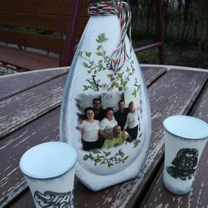 Transzferált italos szett, egyedi fotóval és idézettel. :-), Otthon & Lakás, Díszüveg, Dekoráció, A képen látható italos üveget a 2  pálinkás pohárkával, egy Úrnak készítettem de ha Neked is megtets..., Meska