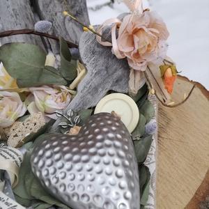 Vintage asztaldísz, ezüst szívvel. :-) (Regikislany) - Meska.hu