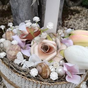 Papírrózsa, selyemtulipánok. :-), Dekoráció, Otthon & lakás, Esküvő, Nászajándék, Ünnepi dekoráció, Húsvéti díszek, Virágkötés, Egyedi asztaldísz festett kosárból, natúr színekkel. \nEgy gyertyát, szépséges selyemvirágokat, csiga..., Meska