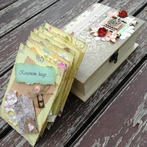 Könyvdoboz, köszönő-kártyákkal. :-) - RENDELHETŐ, Esküvő, Nászajándék, Otthon & lakás, Naptár, képeslap, album, Decoupage, transzfer és szalvétatechnika, Papírművészet, Ezt a díszdobozt személyre szóló felirattal, 8 db díszített köszönő-kártyával és fényképpel készítet..., Meska
