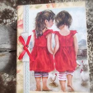 Nagyméretű könyvdoboz, bájos kislányokkal.  :-), Díszdoboz, Dekoráció, Otthon & Lakás, Decoupage, transzfer és szalvétatechnika, Festett tárgyak, Könyv formájú doboz, katicákkal. Használhatod régi emlékek, fotók, ékszerek, édességek, apróságok tá..., Meska