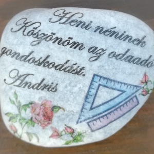 Feliratos kövek a tantárgyhoz igazítva . :-), Kavics & Kő, Dekoráció, Otthon & Lakás, Decoupage, transzfer és szalvétatechnika, Köveket díszítettem és feliratoztam. :-)\nHa saját szöveget, vagy más mintát szeretnél rájuk kérni, v..., Meska