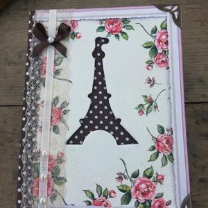 Fotóalbum, Eiffel-toronnyal. :-), Album & Fotóalbum, Papír írószer, Otthon & Lakás, Decoupage, transzfer és szalvétatechnika, Festett tárgyak, Fotóalbum romantikus stílusban. :-)\nAz albumot festettem és csoki-barna pöttyös, minőségi vászonnal ..., Meska
