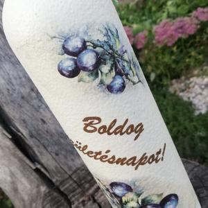 Italos üveg szülinapra. :-), Otthon & Lakás, Üveg & Kancsó, Konyhafelszerelés, Festett üveg, melyet születésnapra ajándékozhatsz, az ünnepelt kedvenc italával. :-) Az üveget feste..., Meska