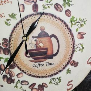 Kávés-feliratos, nagyméretű falióra. :-) - Meska.hu