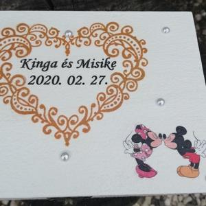Mickey és Minnie/neves-dátumos, gyűrűtartó-gyűrűpárna fadobozban. :-) - Meska.hu