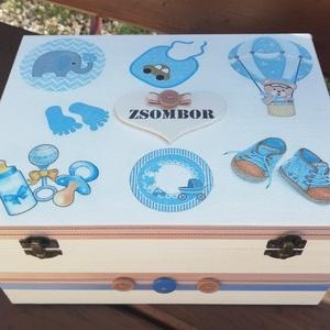 Minőségi, nagyméretű babaváró rekeszes doboz, kisfiúknak, transzfer-technikával. :-), Játék & Gyerek, Babalátogató ajándékcsomag, Decoupage, transzfer és szalvétatechnika, Festett tárgyak, Meska