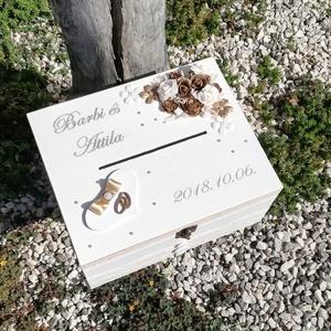 Minőségi, arany-fehér lezárható, feliratozott esküvői pénzgyűjtő persely. :-) - Meska.hu