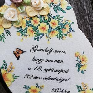 Vicces fatábla, 50. szülinapra, romantikus virágokkal. :-)  - Meska.hu