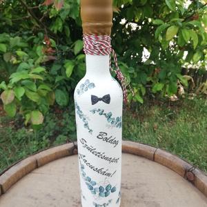 Feliratozott italos üveg szülinapra. :-), Otthon & Lakás, Konyhafelszerelés, Üveg & Kancsó, Decoupage, transzfer és szalvétatechnika, Festett tárgyak, Festett üveg, melyet  egy barátodnak ajándékozhatsz, kedvenc italával. :-)\nHölgyeknek is elkészítem,..., Meska