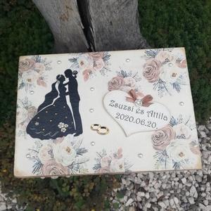 Natúr mintás-feliratos, 6 rekeszes díszdoboz, esküvőre, kártyákkal. - RENDELHETŐ - Meska.hu
