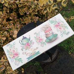 Teás doboz egyedi mintákkal, Tea Time felirattal.  :-) - Meska.hu