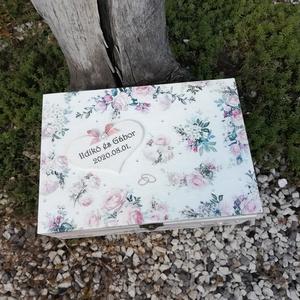 Egyedi mintás, 6 rekeszes díszdoboz, esküvőre, kártyákkal. - RENDELHETŐ - Meska.hu