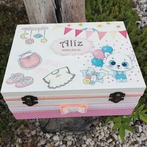 Minőségi, egyterű babaváró doboz, transzfer-technikával. :-), Otthon & Lakás, Dekoráció, Díszdoboz, Decoupage, transzfer és szalvétatechnika, Festett tárgyak, Minőségi, asztalosom által készített, erős fadoboz.  Nagyméretű fa doboz, mely egyedi ajándék lehet ..., Meska