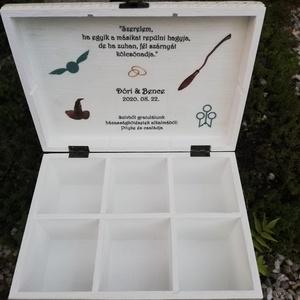 Harry Potter, 6 rekeszes ajándékátadó doboz, feliratos kártyákkal útravalónak. :-) - Meska.hu