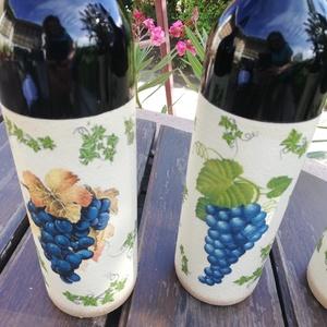 Feliratos borok átalakítva, személyre szabva. :-), Élelmiszer, Alkoholos italok, Decoupage, transzfer és szalvétatechnika, Festett tárgyak, Festett és mindkét oldalán díszített borok egyedi mintákkal, melyet esküvőre, születésnapra vagy más..., Meska