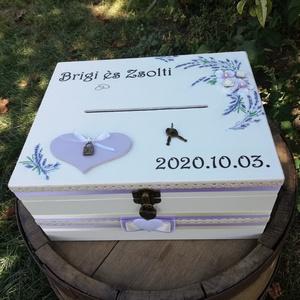 Levendulás, minőségi, lezárható, feliratozott esküvői pénzgyűjtő persely. :-) - Meska.hu