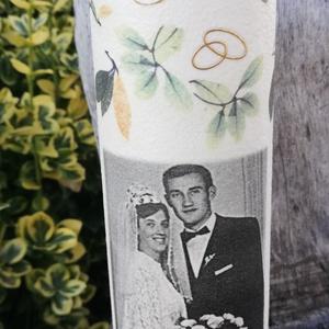 Fényképes italos üveg, házassági évfordulóra, egyedi mintával, felirattal. :-) - Meska.hu