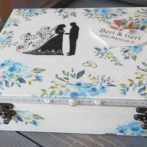 12 rekeszes ajándékátadó doboz esküvőre, egyedi mintákkal, fotótranszferrel. :-) - Meska.hu