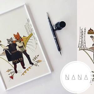Kacor király falidekor, Baba-mama-gyerek, Képzőművészet, Gyerekszoba, Illusztráció, Fotó, grafika, rajz, illusztráció, Egyedi Kacor király grafika -fehér, műanyag keretben, 20×30-as méretben. Kézzel rajzolt, majd digit..., Meska