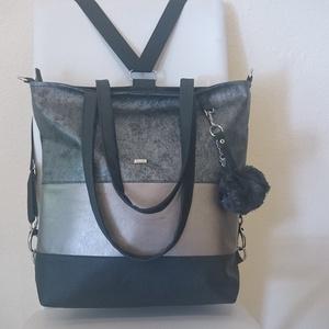 3in1 Válltáska / Hátizsák / Oldaltáska variálható, Táska, Divat & Szépség, Táska, Varrás, Ezt a táskát  fekete-arany-márványos ezüstös műbőrből készítettem, és színben harmonizáló design tex..., Meska
