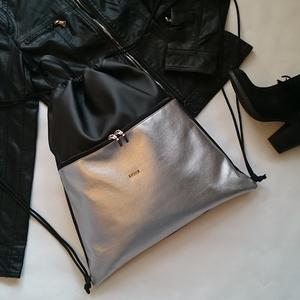 Hátizsák,gymbag / Tornazsák nagyobb zsebbel  fekete-ezüst, Táska, Divat & Szépség, Táska, Varrás, Ezt a táskát fekete és ezüst műbőrből készítettem, és színben harmonizáló design textillel béleltem...., Meska