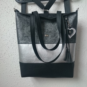 3in1 Válltáska / Hátizsák / Oldaltáska variálható, Táska, Táska, Divat & Szépség, Varrás, Ezt a táskát  fekete-ezüst-márványos ezüstös műbőrből készítettem, és színben harmonizáló design tex..., Meska
