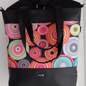 3in1 Válltáska / Hátizsák / Oldaltáska variálható, Táska, Divat & Szépség, Táska, Varrás, Ezt a táskát  fekete műbőrből, és mandalás textilből készítettem, és színben harmonizáló design text..., Meska