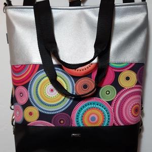 3in1 Válltáska / Hátizsák / Oldaltáska variálható, Táska, Táska, Divat & Szépség, Varrás, Ezt a táskát  fekete és ezüst műbőrből, és mandalás textilből készítettem, és design pamutvászon tex..., Meska