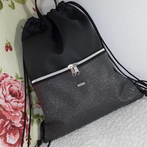 Hátizsák,gymbag / Tornazsák fekete csillámos, Táska, Divat & Szépség, Táska, Varrás, Ezt a táskát fekete és fekete csillámos műbőrből készítettem, és design pamutvászon textillel bélelt..., Meska