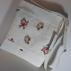 Oldaltáska ,válltáska rózsás, Táska, Divat & Szépség, Táska, Válltáska, oldaltáska, Varrás, Ezt a táskát fehér műbőrből és design pamutvászon  anyagból készítettem, belülre szintén design text..., Meska
