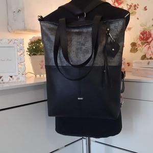 3in1 Válltáska / Hátizsák / Oldaltáska variálható, Táska, Divat & Szépség, Táska, Varrás, Ezt a táskát  fekete-márványos ezüstös műbőrből készítettem, és színben harmonizáló design textillel..., Meska