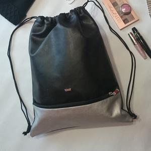 Tornazsák,gymbag / Hátizsák fekete-ezüst, Táska, Divat & Szépség, Táska, Varrás, Ezt a táskát fekete és ezüst műbőrből készítettem, és színben harmonizáló design textillel béleltem...., Meska