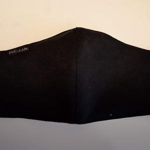 Kétrétegű maszk, fekete, NoWaste, Textilek, Kendő, Varrás, A maszk fekete pamutvászonból készül, 2 rétegű, belül fehér,fehér gumival a fülre akasztható.\n\nMegre..., Meska