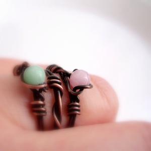 AKCIÓS !!! Jáde rakásolható gyűrű vörösrézből, Ékszer, Gyűrű,  AKCIÓ!!!!!! 3000 Ft helyett 1999 Ft-ért! 3 db gyűrű: 2 db egy-egy 4 mm-es jádéval díszítve, a harma..., Meska