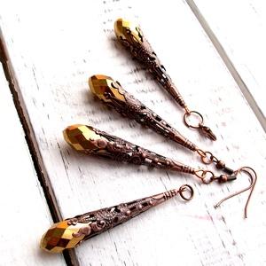 Sárkányvirág 3 darabos ékszer szett, Ékszer, Ékszerszett, Ékszerkészítés, Fémmegmunkálás, Fülbevaló, medál, és egy charm. Antikoltrézszínű  gyöngykupak és 2 cm aranyszínű kristályből készült..., Meska