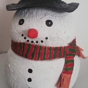 Hóember dísz, Karácsony & Mikulás, Karácsonyi dekoráció, Szobrászat, Betonból készült, tömör hóember dekoráció, amelyet kültérre is rakhatsz, mert lakkozás védi az időjá..., Meska