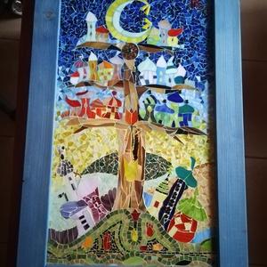 Fafalva - mozaik kép, Otthon & lakás, Dekoráció, Lakberendezés, Falikép, Kép, Gyerek & játék, Gyerekszoba, Mozaik, Egy kedves kis manófalu költözött erre a hatalmas fára, aminek a tetején egy rövid időre a hold is m..., Meska