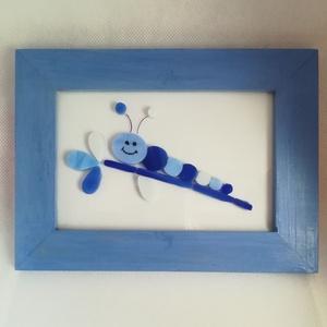 Kis kukac - mozaik kép, Otthon & lakás, Dekoráció, Lakberendezés, Falikép, Kép, Gyerek & játék, Gyerekszoba, Baba falikép, Mozaik, Üveglapra mozaikoztam kék üvegdarabkákból ezt a kedves kis kukacot. A fa keretet sötétkékre festette..., Meska