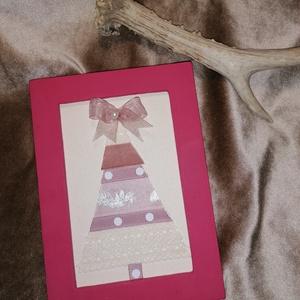 Karácsonyi kép II. , Karácsony & Mikulás, Karácsonyi dekoráció, Mindenmás, Pasztell színű szalagok, pasztell alapon, pasztell színű (kép nem ezt a színt adja vissza) keretben,..., Meska