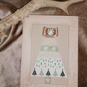 Karácsonyi kép III. , Karácsony & Mikulás, Karácsonyi dekoráció, Mindenmás, Pasztell színű, csodaszép szalagok, pasztell alapon, pasztell keretben.\nMérete : 13x18 cm. , Meska