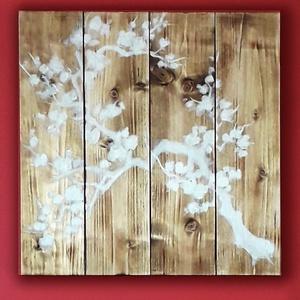 Rusztikus festmény fa alapon, természetes alapanyagokból, monokróm, romantikus és minimalista, egyedileg méretre, Otthon & lakás, Lakberendezés, Falikép, Képkeret, tükör, Famegmunkálás, Festészet, Otthoni rusztikus festmény fa alapon, természetes alapanyagokból, egyedileg méretre készítve\nalapmér..., Meska