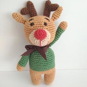 Rudolf a rénszarvas, Gyerek & játék, Játék, Baba játék, Játékfigura, Horgolás, A legendák szerint a Mikulás ajándékokkal teli szánját 9 rénszarvas húzza, olykor bizony repülnek is..., Meska