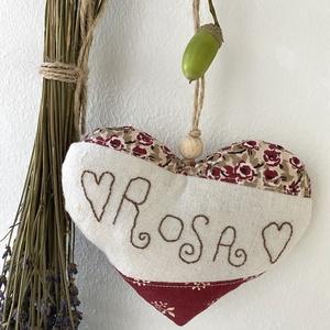 """,,ROSA"""" levendula illatú szív, Illatzsák, Dekoráció, Otthon & Lakás, Varrás, Hímzés, Levendula illatú dekorációs szív hímzéssel díszítve.\nMéret:13x11 cm, Meska"""